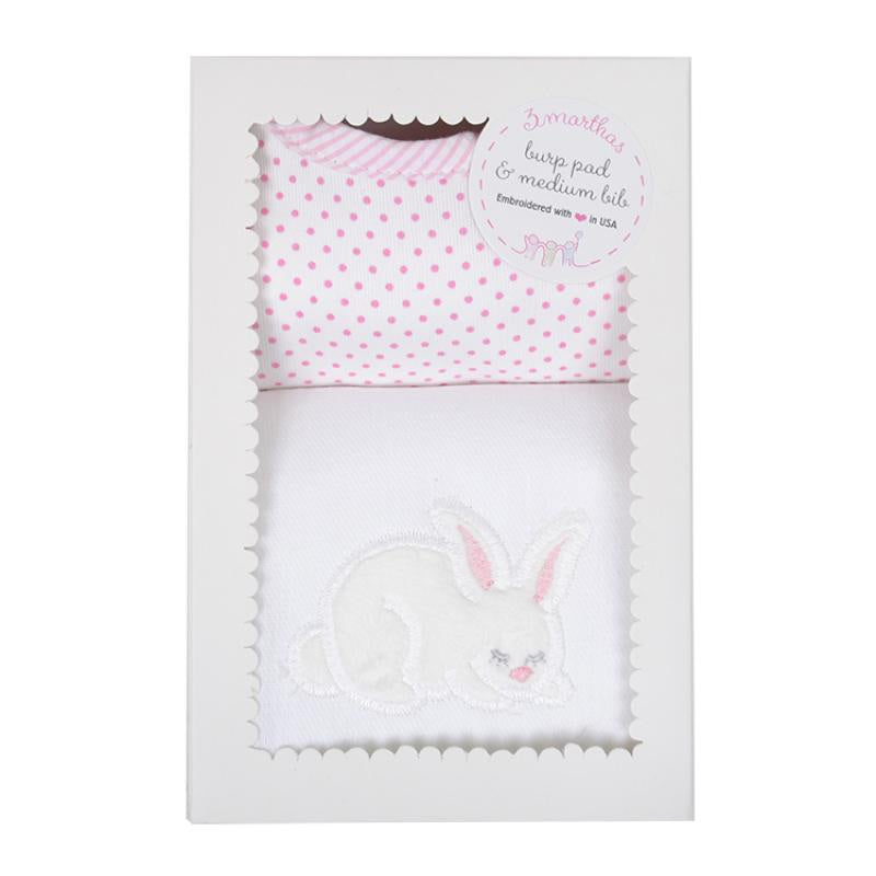 Burp & Bib Box Set- Pink Bunny - Mumzie's Children