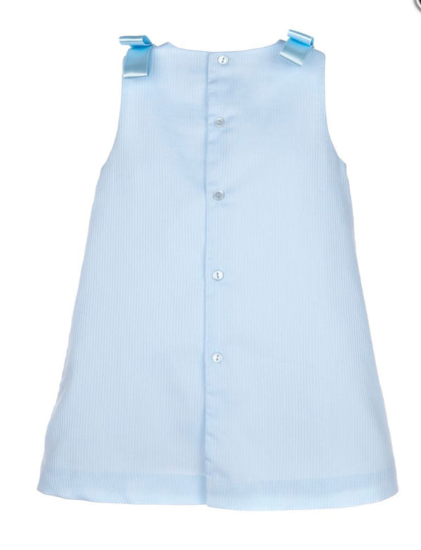 A- Line with Insert Smock Dress- Blue
