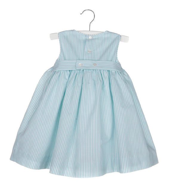 Aqua Stripe Smock Dress