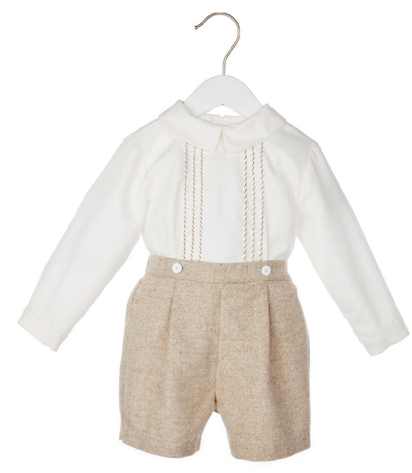 Short Set with Hand Embroidery on Shirt- Bown - Mumzie's Children