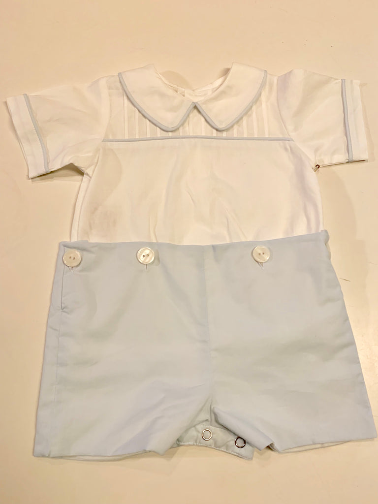 Blue Riley Button Romper - Mumzie's Children