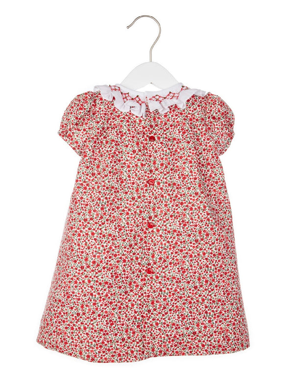 Floral Dress with Smock Ruffle- Red - Mumzie's Children
