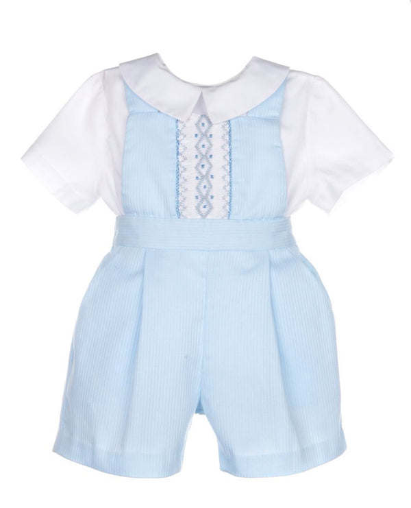 Smock Overall Boy with Shirt- Blue