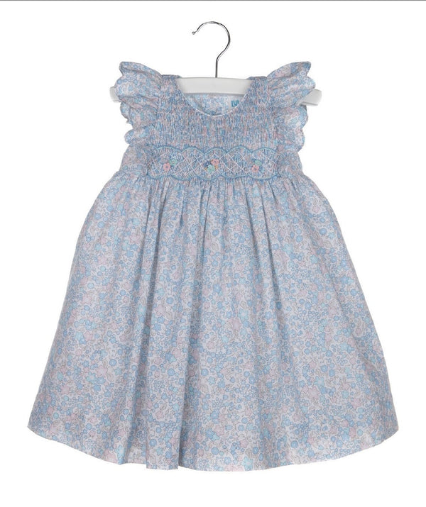 Smock Dress with Scallops Sleeve-Blue - Mumzie's Children