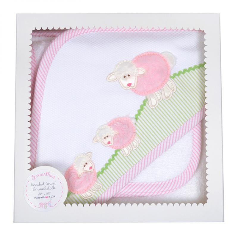 Hooded Towel- Pink Little Lamb