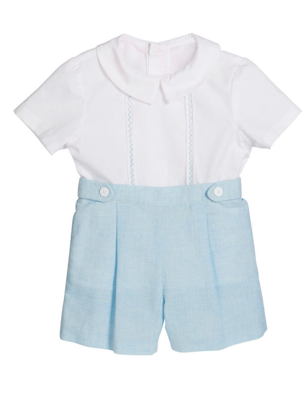 Blue Linen Short with Tabs - Mumzie's Children