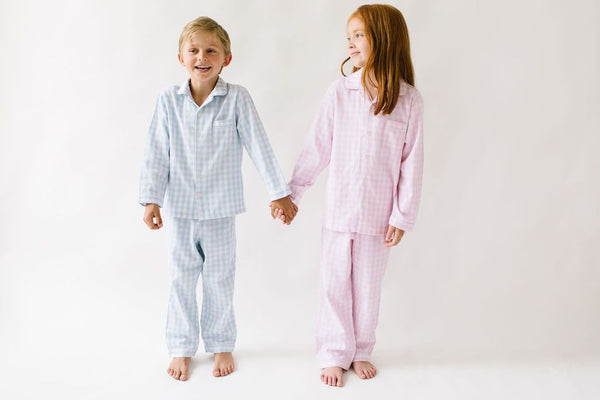 Petite Plume- Light Blue Gingham Pajamas - Mumzie's Children
