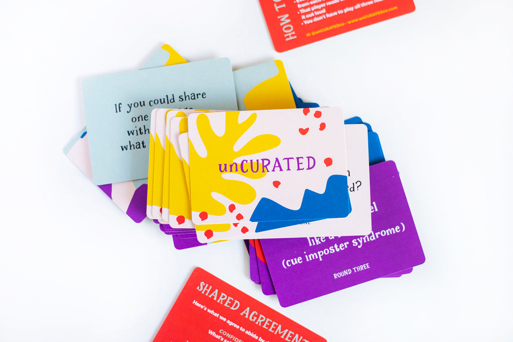 unCURATED - the card game that sparks meaningful conversations, connection, and emotional well-being, dinner party game for adults