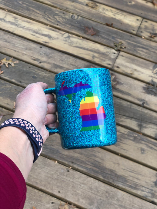 10 oz Rainbow Michigan Mug