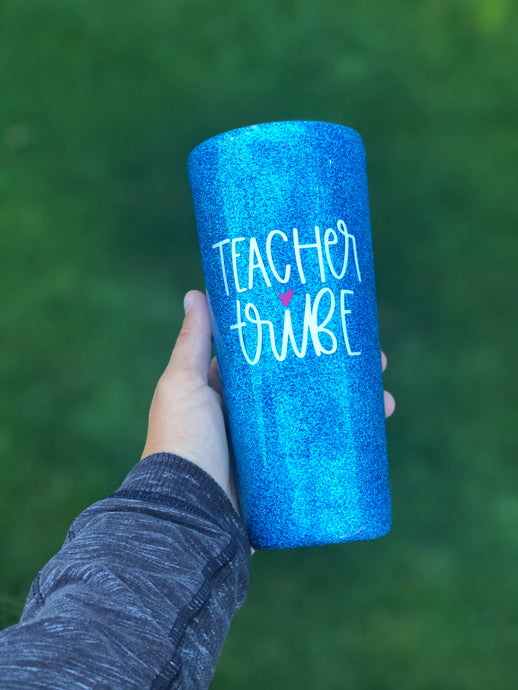 22 oz Teacher Tribe Glitter Tumbler