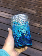 Load image into Gallery viewer, 16 oz Ocean Waves Rhinestone Tumbler