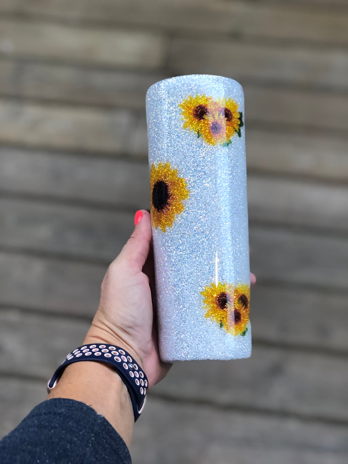 20 oz Sunflower Glitter Tumbler