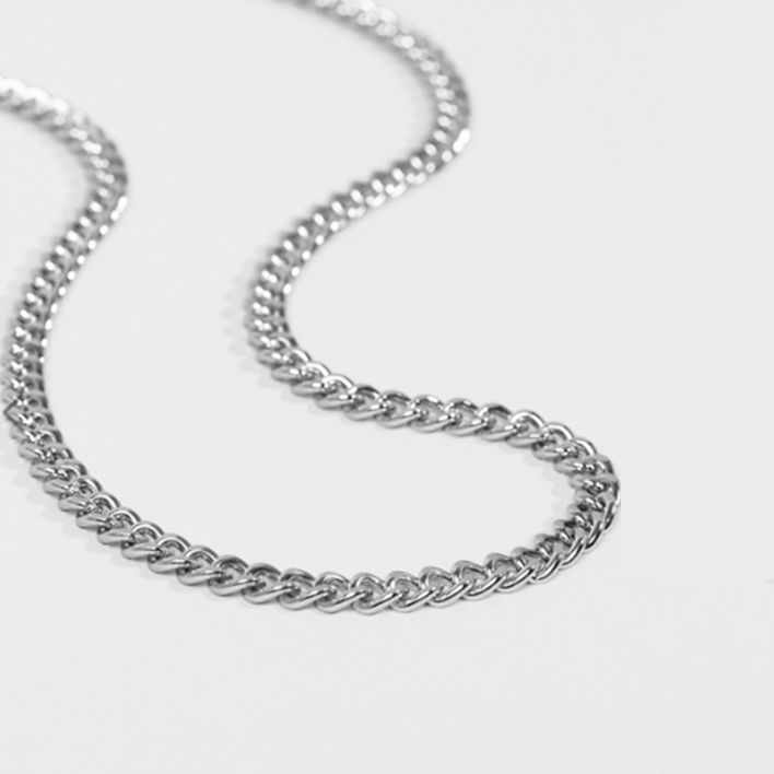 8mm CURB NECKLACE CHAIN - SILVER
