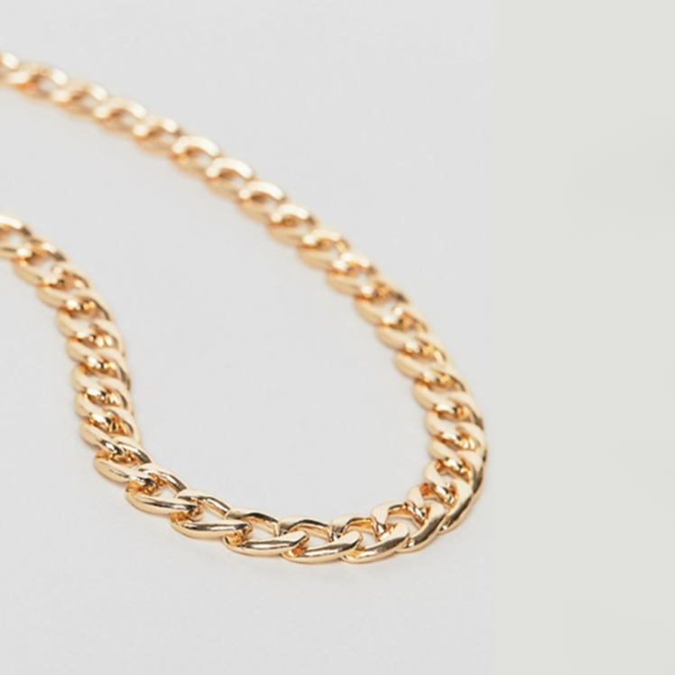 12mm CURB NECKLACE CHAIN - GOLD