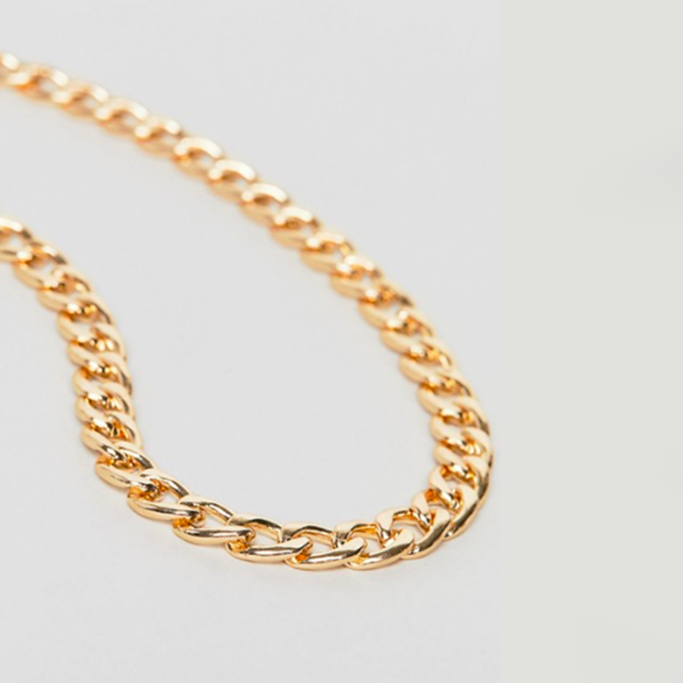 8mm CURB NECKLACE CHAIN - GOLD