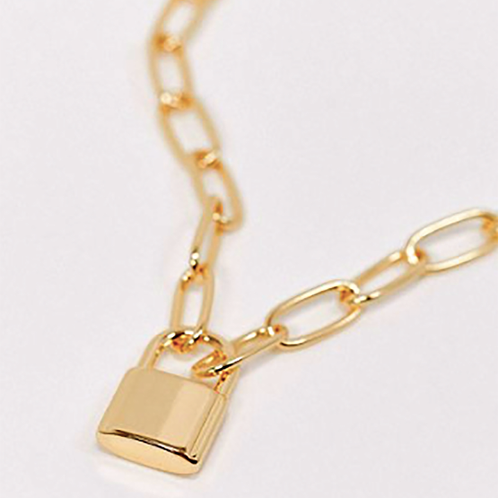 KEENA PADLOCK PENDANT OVAL NECKLACE CHAIN - GOLD