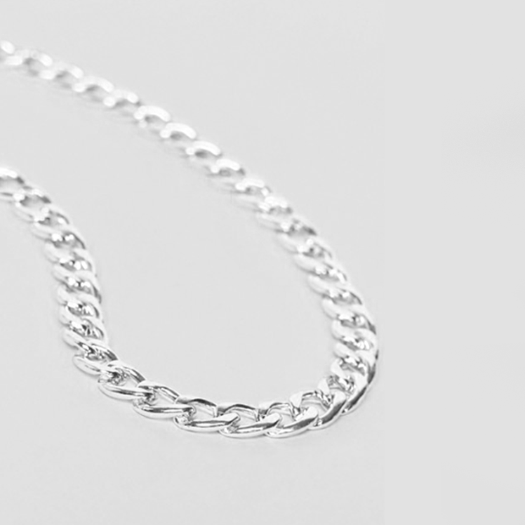 4mm CURB STERLING SILVER NECKLACE CHAIN - SILVER