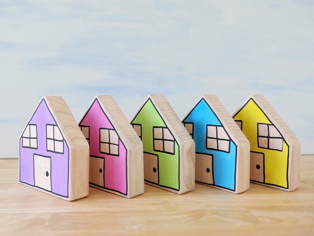 Pastel houses (set of 5)