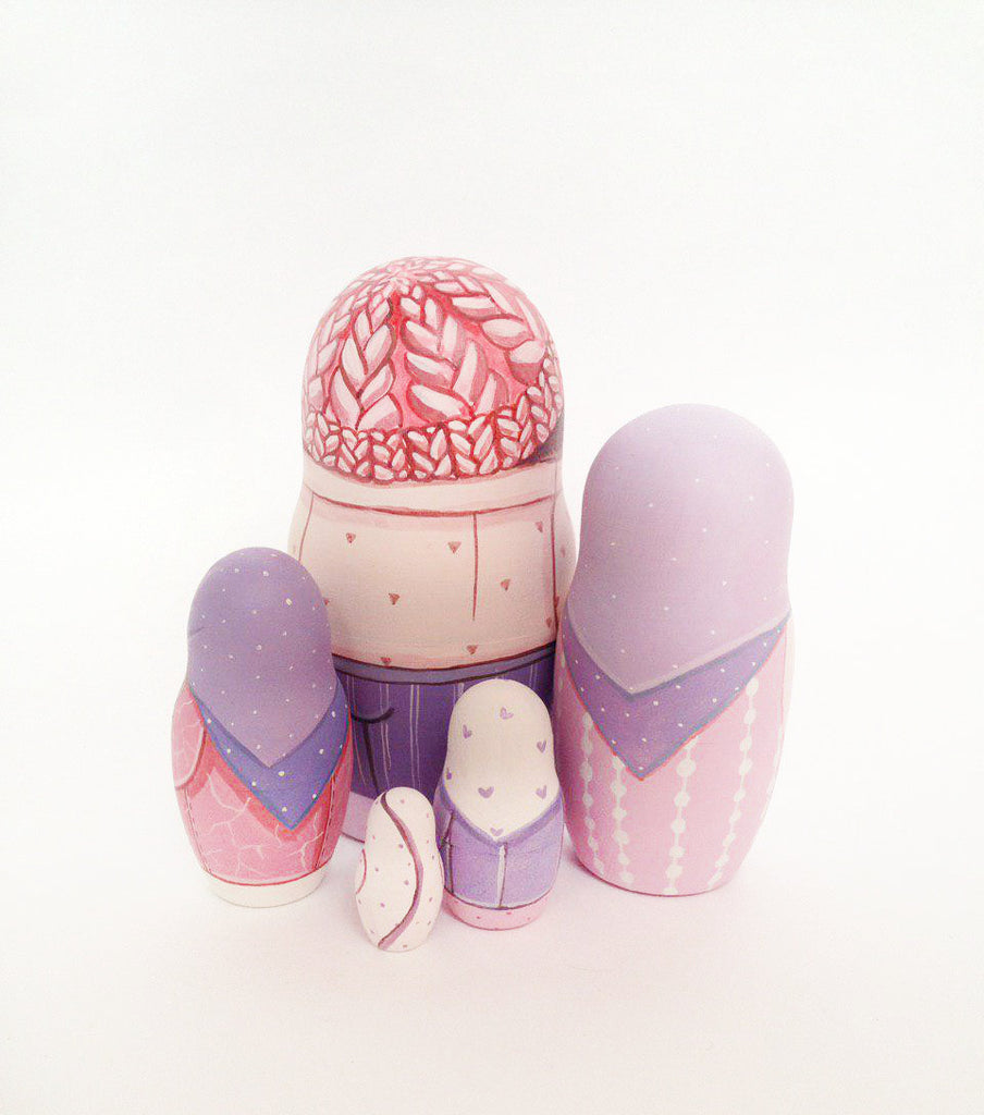 Mauve - 5 Set Russian Dolls