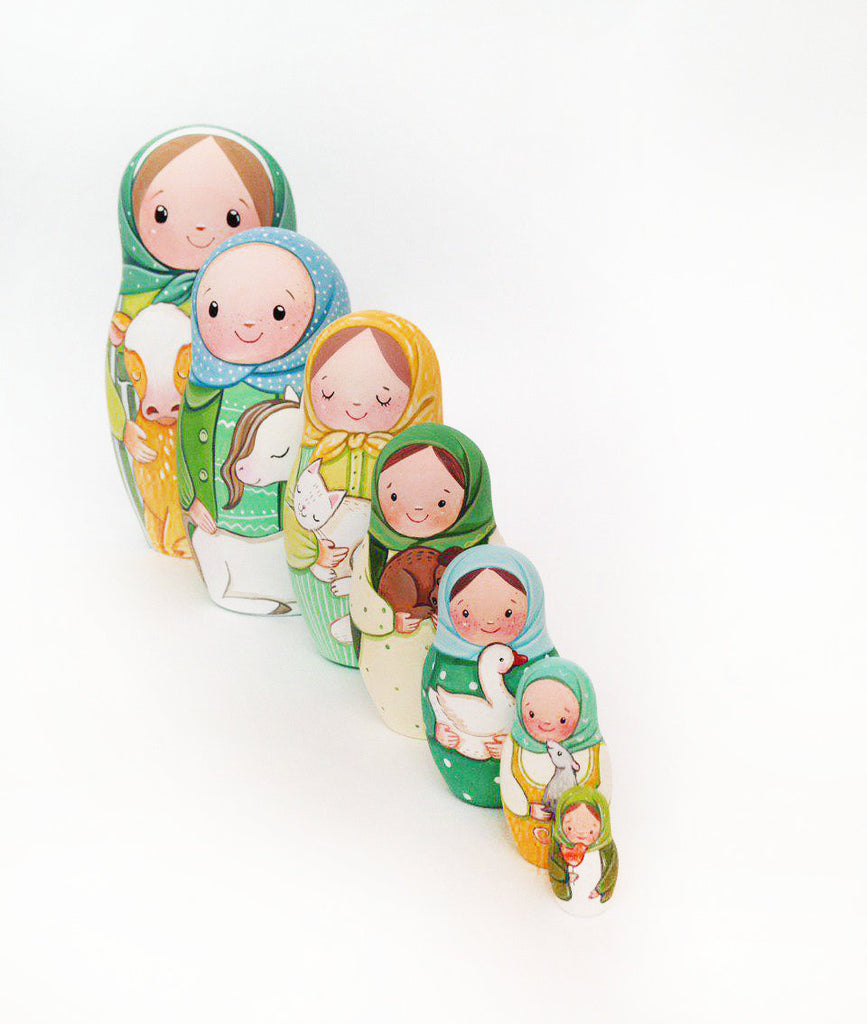 Green - 7 Set Russian Dolls