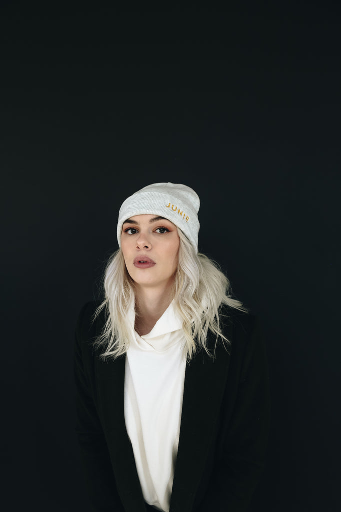 The Junie Beanie in Mist Grey