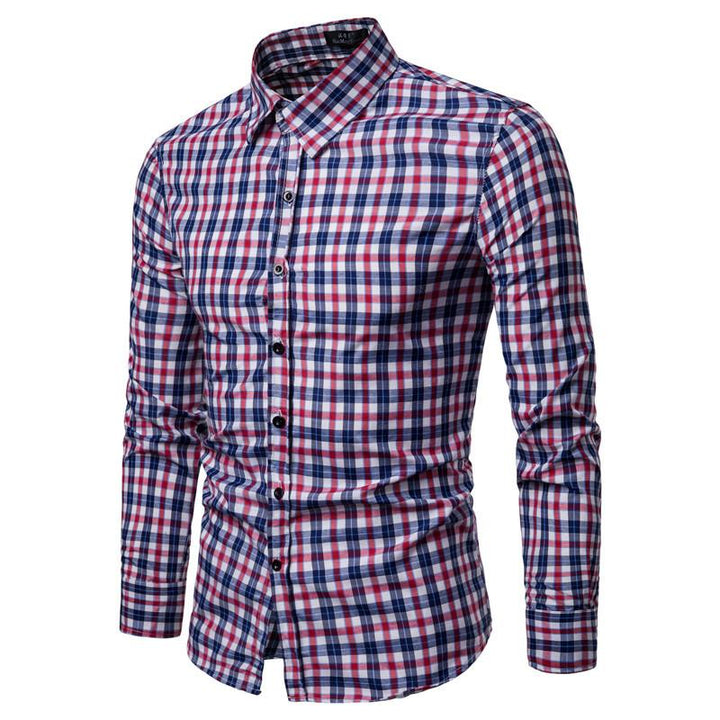 Polyester slim full sleeve casual shirt with lapel collar for men`s - Bisonfashion