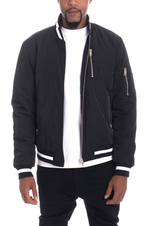 LUXE TWILL JACKET - BLACK - Bisonfashion
