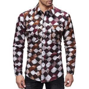 Men Full Sleeve Regular Turn-down Collar Casual Polyester Slim Print Button Shirts
