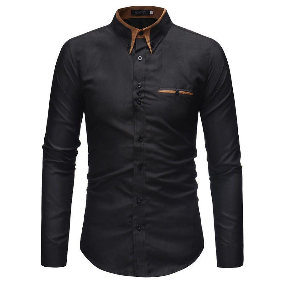 Men Full Sleeve Regular Turn-down Collar Casual Polyester Solid Slim Button Shirt