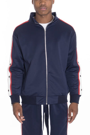 SNAP BUTTON TRACK JACKET- NAVY - Bisonfashion