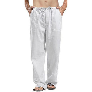 Litthing Mens Nature Cotton Linen Trousers Summer Pants 2XL Casual Male Solid Elastic Waist Straight Loose Pants Plus Size