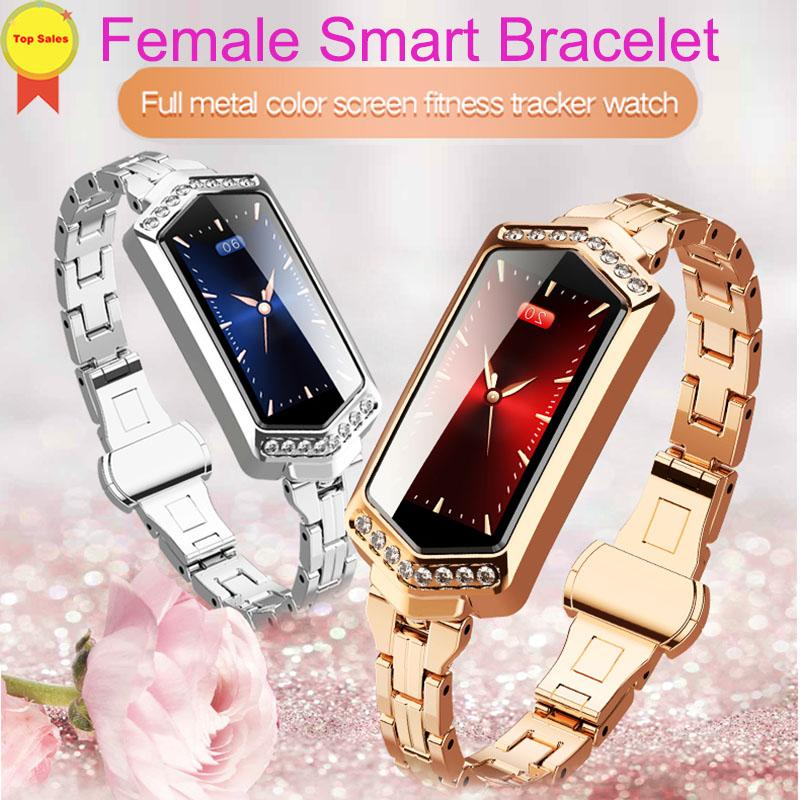 smart watch women Fitness bracelet Heart Rate tracker Monitor blood pressure oxygen lady smartwatch band best gift fo girlfriend - Bisonfashion
