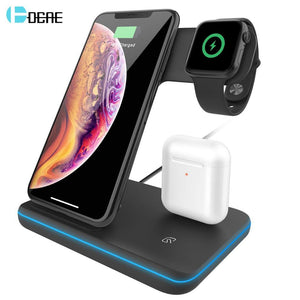 15W Fast Qi Wireless Charger Stand For iPhone 11 XS XR X 8 Samsung S10 S9 10W 3 in 1 Charging Dock for Apple Watch 5 4 3 Airpods