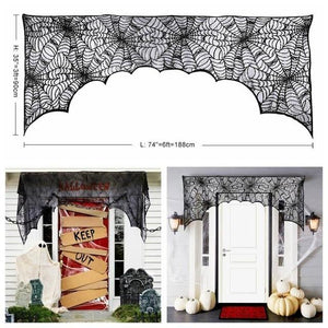 Ourwarm Halloween Party Black Lace Spiderweb Table Cloth 100cm Table Covers Window Hanging Horror Halloween Party Decoration