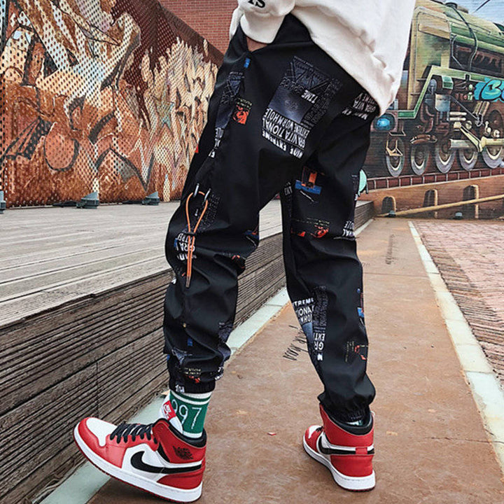 Hip hop Pants Men Loose Joggers Pants with Print Streetwear Harem Pants Clothes Ankle length Trousers Harajuku Sport Casual - Bisonfashion