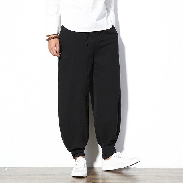 Sinicism Store 5XL Cotton Linen Harem Pants Men Jogger Pants Male Trousers Chinese Traditional Cloths Belts Plus Size