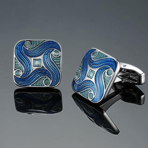 Men's French shirts cufflinks wholesale environmental protection enamel  baking polishing Blue crystal pattern cufflinks