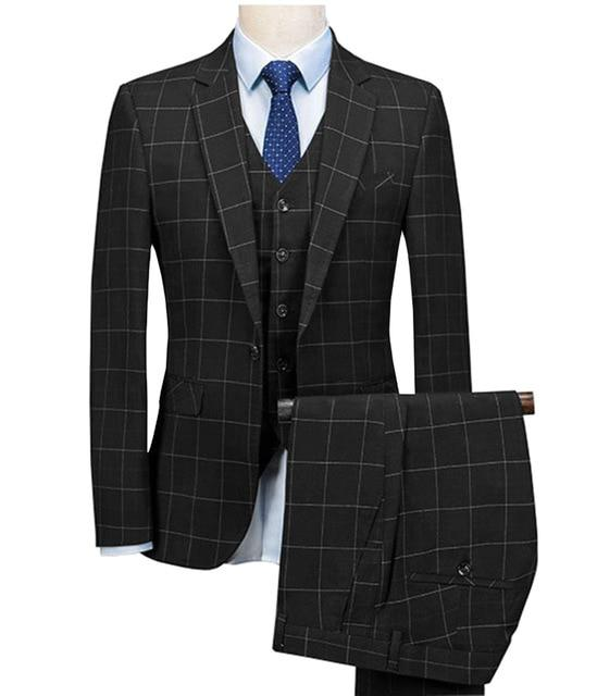 2019 Royal Blue 3 Pieces Mens Suits Plaid Slim Fit Wedding Suits Groom Tweed Wool Tuxedos for Wedding (Jacket+Pants+Vest)