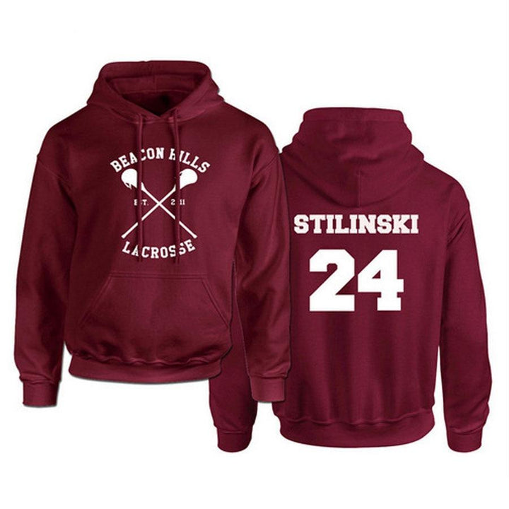 Teen Wolf Hoodie Men Stilinski 24 Lahey McCall Pullover Sweatshirt Male Print Red Hooded Mens Hoodies Hip Hop Hoddies Streetwear - Bisonfashion