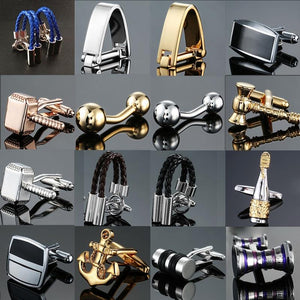 Factory direct sales wholesale French shirt cuff Cufflink button gold silver men fashion brand double leather Cufflinks
