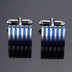 Copper quality enamel square stripes gold silver black flower cufflinks Top brand men's French shirt cufflinks - Bisonfashion