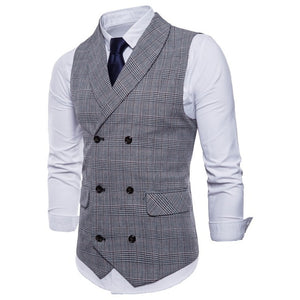Riinr 2019 Brand Suit Vest Men Jacket Sleeveless Beige Gray Brown Vintage Tweed Vest Fashion Spring Autumn Plus Size Waistcoat