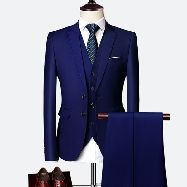 Suit suit male 2019 spring and autumn high-end custom business blazers three-piece / Slim large size multi-color boutique suit