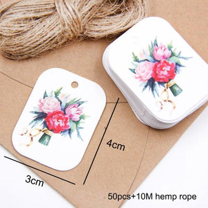 50PCS/Lot Beautiful Paper Tags with Hemp Rope Wedding DIY Package Party Decorations Mariage Valentines Day Gifts Decor Supplies - Bisonfashion