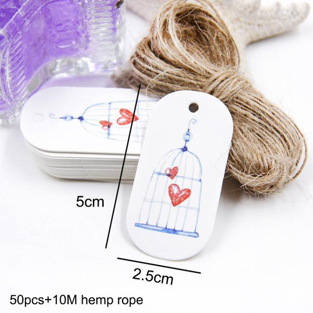 50PCS/Lot Beautiful Paper Tags with Hemp Rope Wedding DIY Package Party Decorations Mariage Valentines Day Gifts Decor Supplies