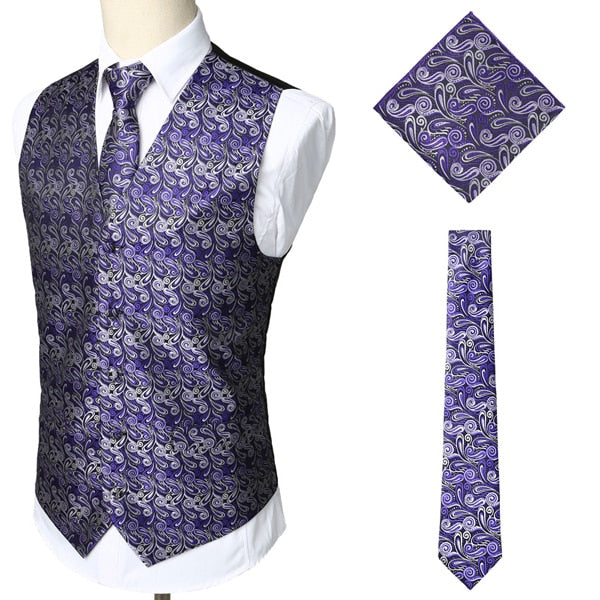 Luxury Wine Red 3pcs Paisley Waistcoat Vest Necktie Handkerchief Set 2019 Classic Jacquard Vest Men Formal Business Casual Vests