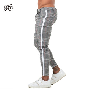 Gingtto Mens Chinos Slim Fit 2019 Men Skinny Chino Pants Super Comfy Stretch Pants For Men Plaid Design Side Stripe zm355