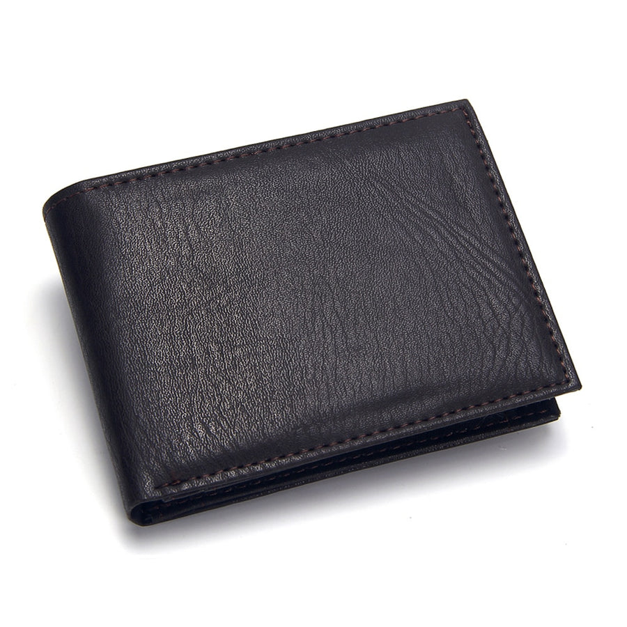Casual Men's Wallets Leather Solid Luxury Wallet Men Pu Leather Slim Bifold Short Purses Credit Card Holder Business Male Purse - Bisonfashion