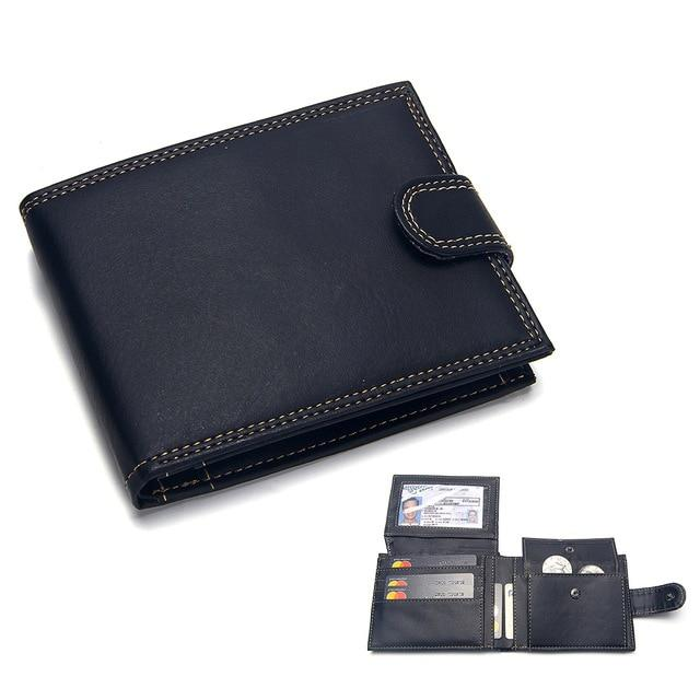 Casual Men's Wallets Leather Solid Luxury Wallet Men Pu Leather Slim Bifold Short Purses Credit Card Holder Business Male Purse
