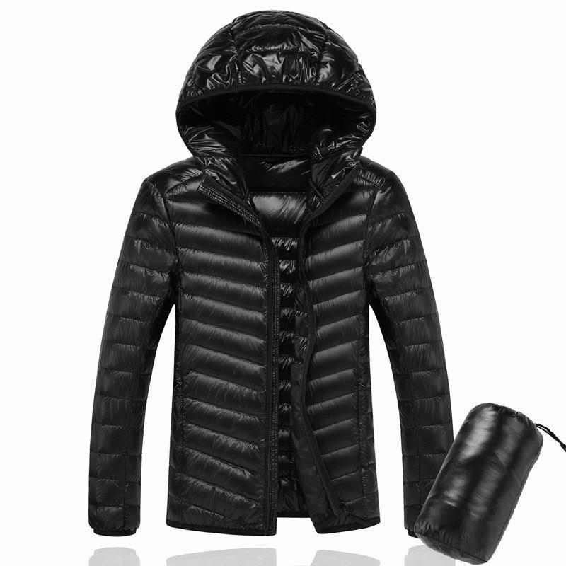Men Hooded White Duck Down Jacket Warm Line Portable Package